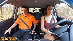 Fake Driving School Curvy brunette Sofia Lee sucks coffee flavoured cock
